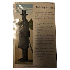 "Black Americana Card 'The Darky Preacher"" 1905"