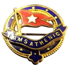 White Star Liner R.M.S. Athenic Souvenir Badge