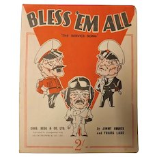 """Bless 'Em All"" WWII Patriotic Sheet Music"