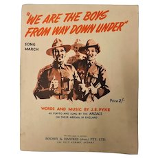 """We Are The Boys From Way Down Under"" WWII Patriotic Sheet Music"