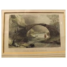 "Victorian Hand Coloured Engraved Print ""Fishing Scene In Yorkshire"""