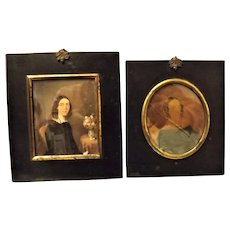 A pair of Early Victorian Small Portraits - Circa 1848