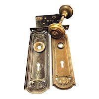 Victorian Set of Brass Door Handles With Back Plates and Lock