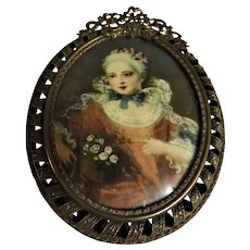 19th Century Miniature Oil Painting of Marie Antoinette - After Le Brun