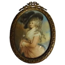 19th Century Miniature Oil Painting of The Duchess of Devonshire - After Gainsborough