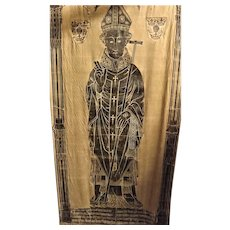 "Antique Brass Rubbing ""Archbishop"" Paper Mounted on Cotton"