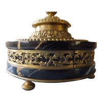 Gorgeous French Antique Marble & Bronze Inkwell - Circa 1900