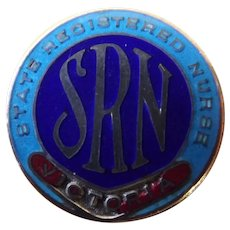 "Rare  1932 Australian ""State Registered Nurses - Victoria"" Badge"
