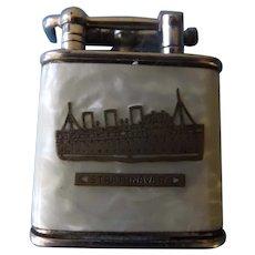 """P & O Shipping Lines """"S.S. Strathnaver"""" Souvenir Cigarette Lighter- Circa 1930,s"""