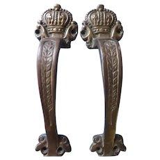 """A pPair of """"CROWN"""" Bronze Door Pulls or Handles"""