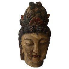 "Qing Dynasty Hand Carved Wooden Head ""GUANYIN"""