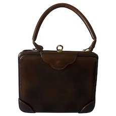 Genuine HERMES  Beautiful Deep Brown Leather Handbag - Circa 1940's