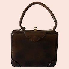 Genuine HERMES  Beautiful Deep Brown Leather Handbag - Circa 1940's