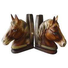 A Super Pair Of Porcelain HORSE HEAD Bookends - Circa 1950's
