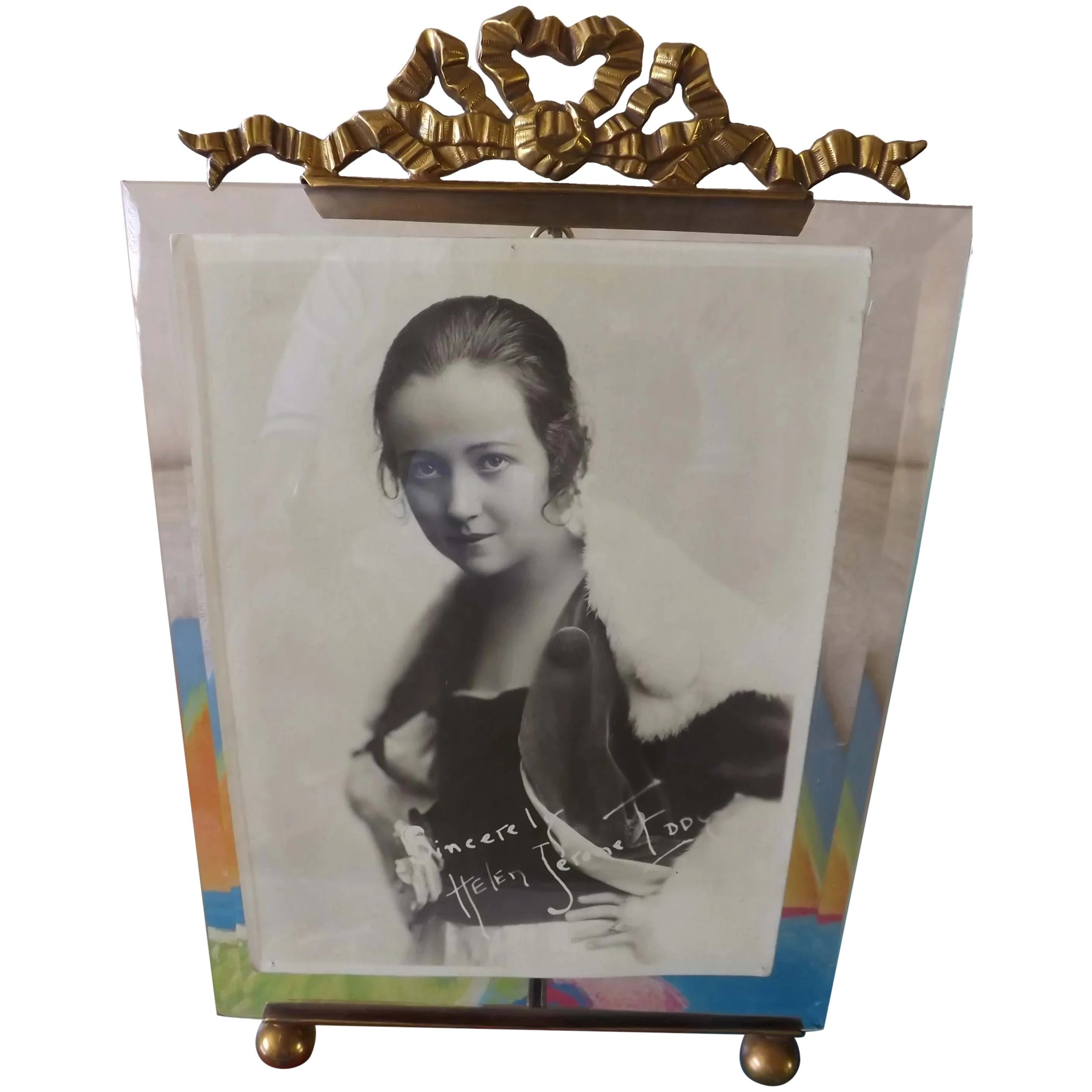 CHIC French Empire Style Bronze & Beveled Glass Frame - Circa 1890