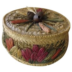 Large Round RAFIA Sewing Basket Circa 1930 - 1940