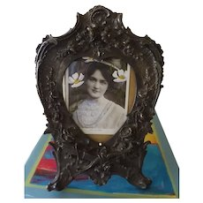 An Elaborate Victorian Pewter Rococo Style Picture Frame