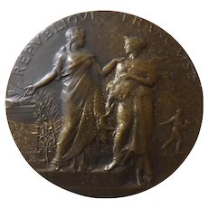 French Bronze Medallion - Ministere De L'Agriculture Circa 1890