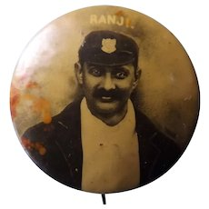 Sir Ranjitsinhji Vibhaji Jadeja (RANJI) Famous Indian Cricketer - Tin Badge Circa 1900