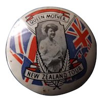 Queen Mothers Souvenir Tour Badge New Zealand 1966