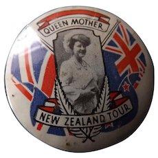 Queen Mothers Souvenir Tour Badge New Zealand 1966