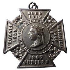 Queen Victoria TWO 1887 Jubilee Maltese Cross Badges
