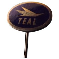 Rare TEAL AIRWAYS Vintage Advertising Stick Pin