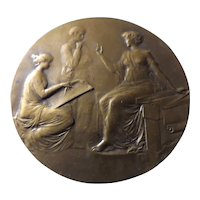 French Bronze BIG Medallion- Medical Circa 1900