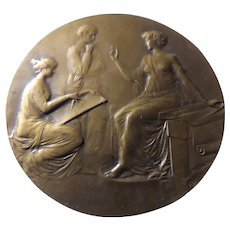 French Bronze BIG Medallion- Medical Circa 1900