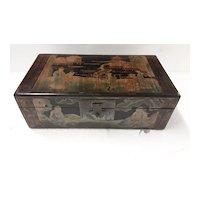 Chinese  Wooden Hand Decorated Treasure Box - Circa 1930
