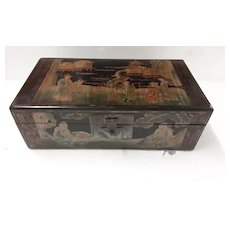 Chinese  Wooden Hand Decorated Treasure Box - Circa 1930