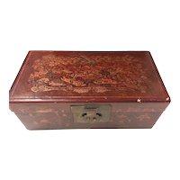 Chinese  Wooden Hand Decorated Treasure Box - Circa 1940