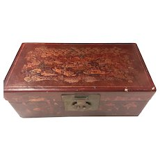 Chinese  Wooden Hand Decorated Treasure Box - Circa 1940