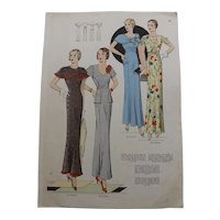 Original French Fashion Pages x Five - Early 1930's Art Deco