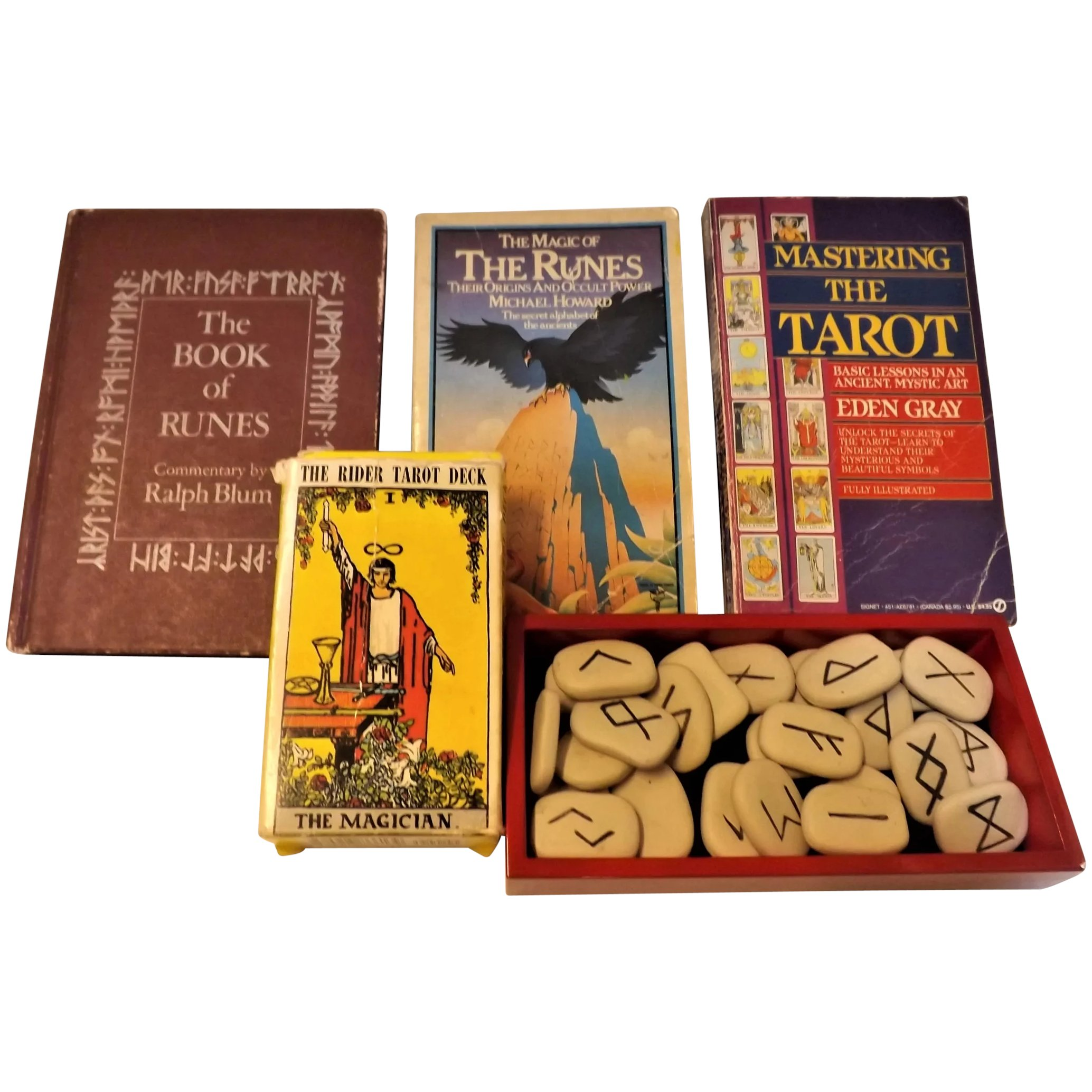 Vintage TAROT Cards and RUNES Set With Books