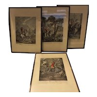 A Set of Four German Engraved Hand Coloured Prints Circa 1800