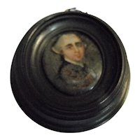 Tiny Georgian Miniature Oil on Glass Painting Date 1820