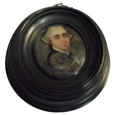 Tiny Georgian Miniature Oil on Glass Painting Date 1820