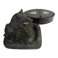 Georgian Bronze BOAR Paperweight  & Snuff Box  -   Circa 1820