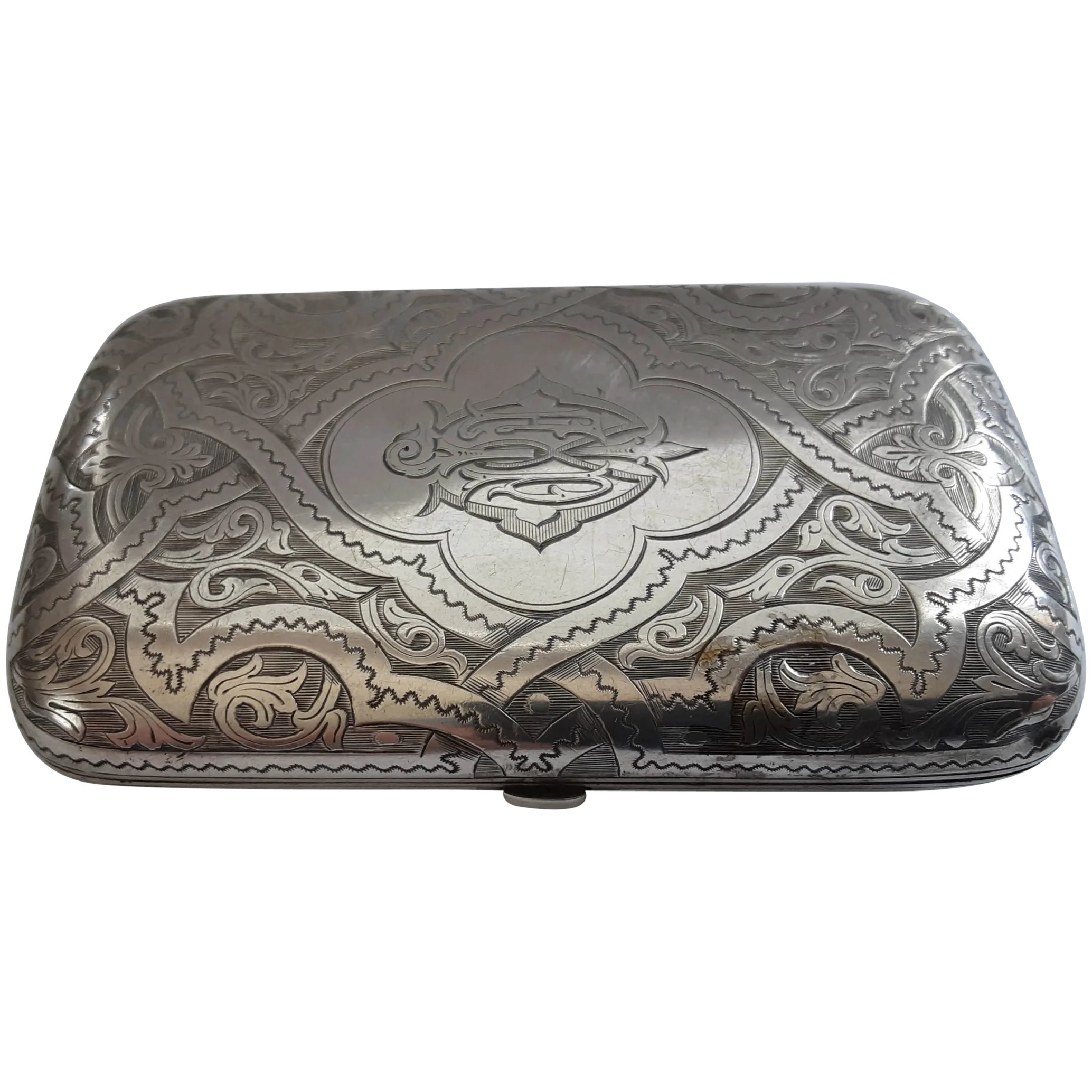 Ornate 1877 Victorian Sterling Silver Cheroot Case