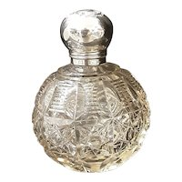 Big Beautiful Cut Crystal Perfume Bottle with Sterling Silver Lid  - Circa 1920