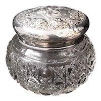 Edwardian Cut Crystal Tidy Jar with Sterling Silver 'Angels' Lid