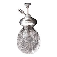 Sterling Silver & Crystal Perfume Bottle  Atomizer 1923