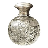 Superb Art Deco Cut Crystal & Sterling Silver Perfume Bottle