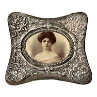 Charming Little Edwardian Trinket Box with Silver Lid -1906