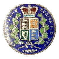 Superb 1847 Queen Victoria Enameled Silver Crown Coin Brooch