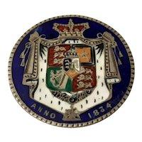 William IV 1834 Half Crown Enameled Silver Brooch