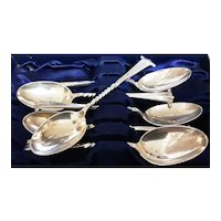 A Boxed Set of  Victorian Sterling Silver Coffee Teaspoons
