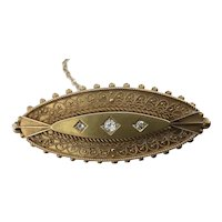 Superb Victorian Mourning Brooch - 15 Carat Rose Gold With Diamonds
