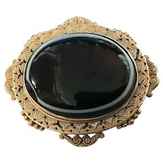 Victorian 18 Carat Gold & Striped Onyx Mourning Brooch